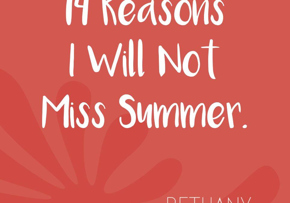 Fourteen Reasons I Will Not Miss Summer